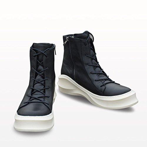MSM4 Moda Uomo Stivali Martin Solette Sole Suola In Pelle Wear Black White White