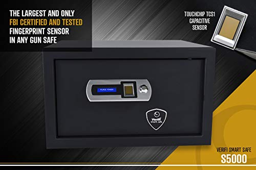 Verifi Smart.Safe. S5000 Biometric Gun Safe with FBI Certified Fingerprint Sensor, Self-Diagnostics, Tamper Alerts and AutoLock