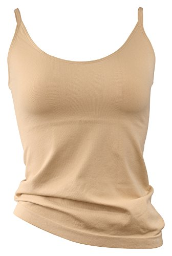2 Pack Camiseta interior invisible para mujer, microfibra beige/beige