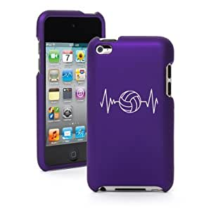 Apple iPod Touch 4th Generation Purple Rubber Hard Case Snap on 2 Piece BR175 Heart Beats Volleyball (Purple)