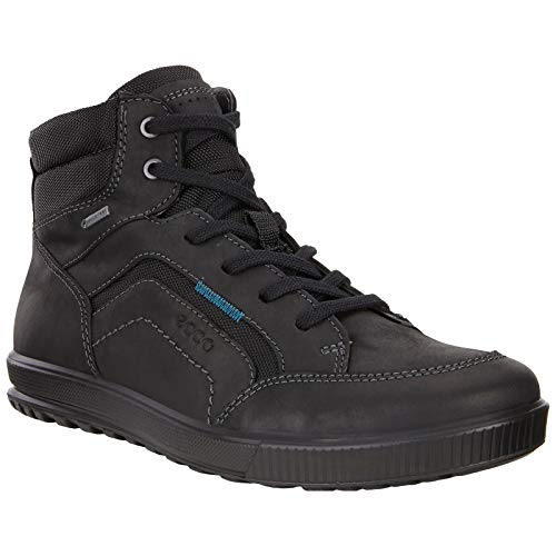 ECCO Mens Ennio Oiled Nubuck Black Trainers 8-8.5 US (Ecco Mens Ennio Retro Lace Fashion Sneaker)