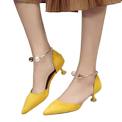 Sandales coréen de 4cm, chaussures de mi-sang d'été, chaussures à talons hauts Shallow Toe ( Couleur : Black 4cm , taille : 38 ) Yellow 4cm