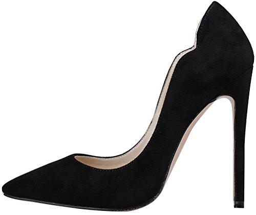 Calaier 11cm Chaussures Noir Glisser Aiguille Escarpins Femme Capainting Sur AxwqABr