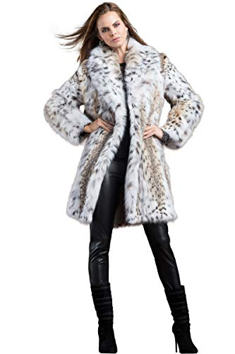 (Zandra Rhodes Women's American Lynx Semi-Belly Mid-Length Fur Coat )