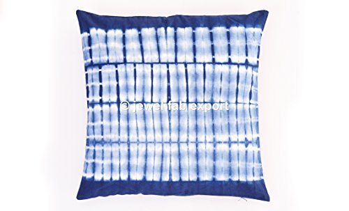Cotton Cover 134 (Jewel Fab Art Indian Shibori Tye Dye Square Cotton Cushion Cover Home Decorative Cushion Bohemian Indigo Pillows Sofa Back Cushion Cover Set of 5)