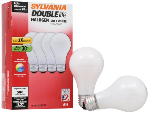 SYLVANIA Halogen Lamp Double life / Dimmable Light Bulb A19 / Energy-saving replacement for 40W Incandescent / Medium base E26 / 28 Watt / 2700K  soft white, 4 Pack