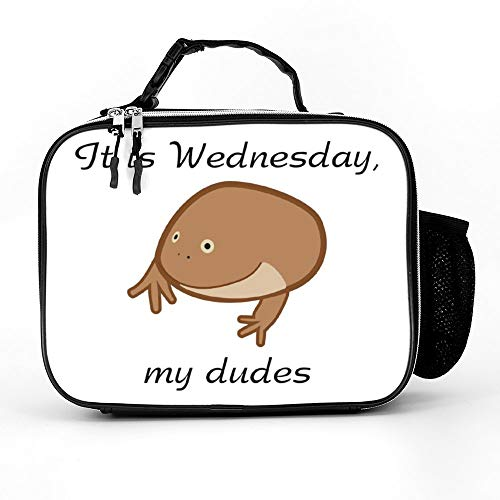 Welkoom Lunch Bag With It Is Wednesday My Dudes Funny Frog Meme Gift Large Insulated Lunch Bags|Durable Thermal Lunch Cooler Pack With Strap For Boys Men Women Girls -
