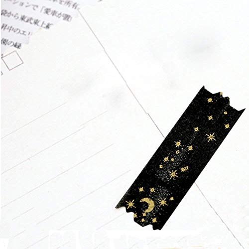 Potelin Black Moon Star Decorative Washi Tapes Washi Masking Tape for Crafts Scrapbooks DIY Crafts and Gift Wrapping Office Party Supplies Gold by Potelin (Image #4)