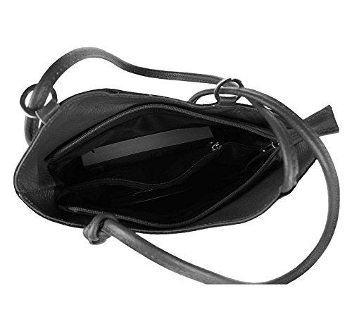 OBC MADE IN ITALY ledertasche-rucksack AVESTRUZ Repujado Bolso Mujer 2 en 1 BOLSA BOLSO de Hombro Bolso de hombro con asas Tableta/iPad aprox. 10-12 pulgadas 27x29x8 cm (BxHxT ) Marrón oscuro/Moro