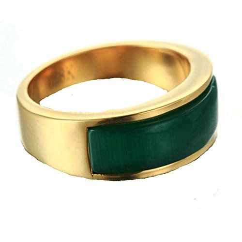MoAndy Fashion Ring Men Stainless Steel Vintage Retro Gold Green Opal Ring 2CM Size 12 ()