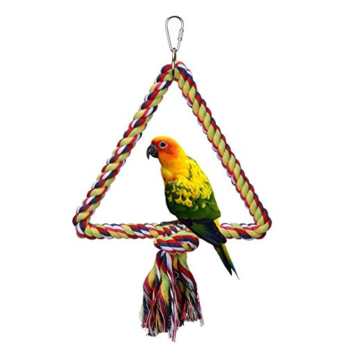 Bird Toys,Flying Trapeze Multi-color Cotton Swings Budgie Toys Bird Swings for Parrot(Triangle) by Onemore choice