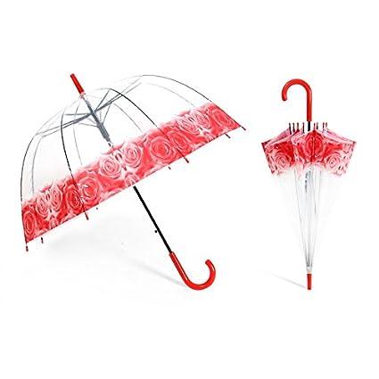 Paraguas Paraguas Transparente Para Hombres Y Mujeres Paraguas Larga Paraguas Semi Automático Creativo (Color :