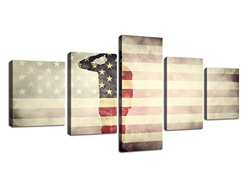 - Retro American Flag Canvas Wall Military Pictures for Living Room Print USA Modern Painting 5 Panels Framed Posters and Prints Stars Stripes Giclee Gallery Wrap Artwork Stretched Hooks (50