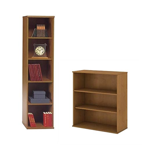 (Series C 2 Piece Office Short and Tall Bookcase Set in Natural Cherry)