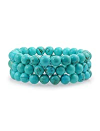 Bling Jewelry Set of 3 Stackable Gemstone Reconstituted Turquoise Bead Stretch Bracelet 8mm