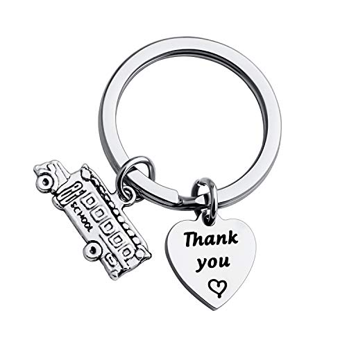 FUSTMW Thank You Gift for School Bus Driver Keychain Appreciation Gift End of The School Year Gift (Silver)