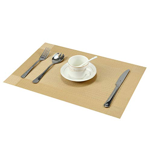 CHBESTR 4 Pack Placemats Vinyl Place Mats for Dining Kitchen Table, Antiskid Heat Insulation and Bacteriostasis, Easy to Clean (Gold)
