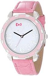 Hello Kitty Women's H3WL1038LTPK Boyfriend Valentine Kitty Watch with Pink Leather Band