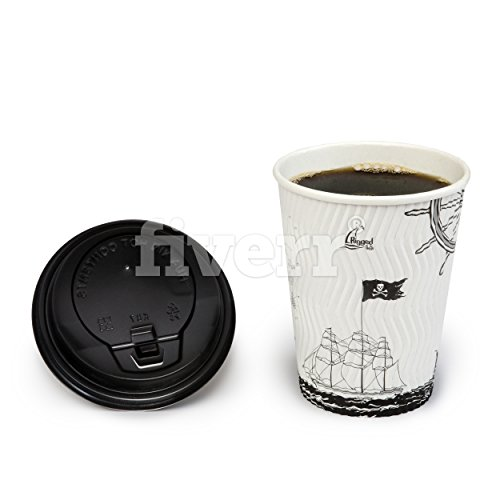 Disposable Coffee Cups - Premium 12-Ounce Hot Paper Cups with Lids For Coffee, Espresso, Tea, Chocolate, Etc - Perfect For Gatherings, Birthday, Party and Restaurant Supplies - 50 Count