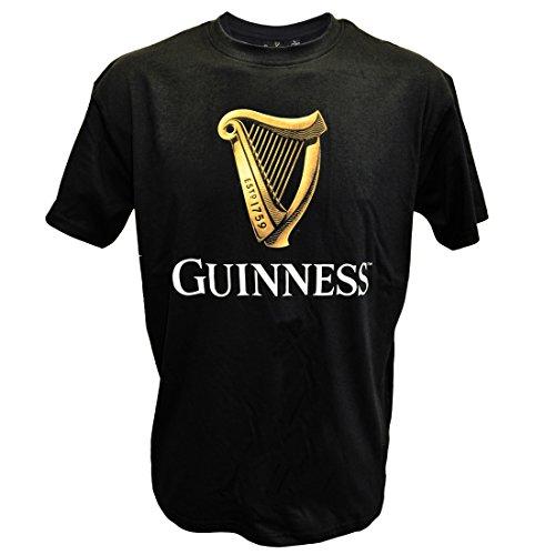 Schwarz Guinness klassisches T-Shirt Mit Einer Irish Gold Harfe Design