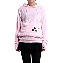 Dave Loh Unisex Pet Holder Sweater Hoodies Cat Dog Kangaroo Pouch Carriers Pullover