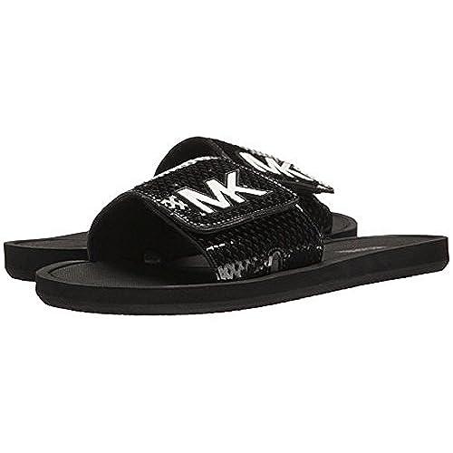 a0129747ccf2 on sale Michael Michael Kors MK Shower Slide Sandals ‑ Black  White ...