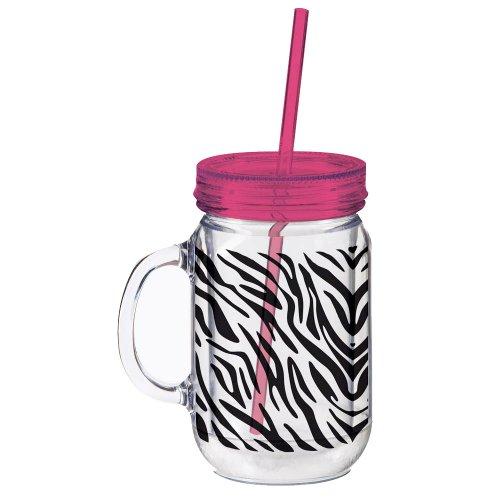 Zebra Stripes Print Double walled Mason Jar Cup