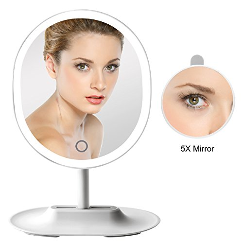 ASCINATE Lighted Vanity Mirror Oval Shape USB Rechargeable Touch Screen Dimming Makeup Mirror with 5X Magnifying Spot Mirror - Shopping Hollywood Center