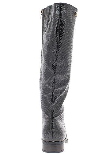 Bottes femme noires doublées à talon de 3cm look croco