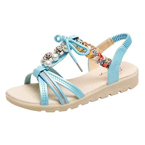 Dasuy Women's Summer Cute Bohemia Flat Sandals Rhinestone Beads Lace up Shoes Women Beach Flip Flops Shoes Size 5-7.5 (US:7, Blue)