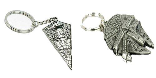 Star Wars The Empire Star Destroyer, and Millennium falcon Keychain Gift Set