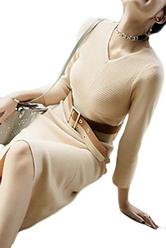Jaycargogo Apricot Long Neck Bodycon V Belt Knit with Dress Midi Womens Sleeve qwrAq