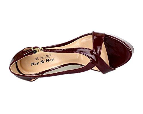 Del Sandali 48 Per Sbirciare Piattaforma Tacchi EUR42 Cinghia Dito Nuziale Stiletto Scarpe Nero Winered Attraversare Caviglia Donna Piede 40 Signore Vestito Festa Rosso UK10 Fibbia Alto Le Taglia xnxZSrT