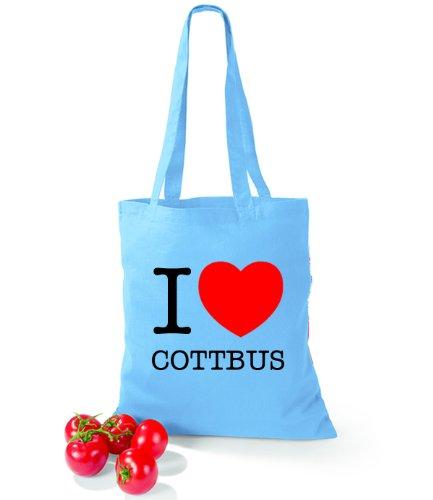 Artdiktat Baumwolltasche I love Cottbus Surf Blue
