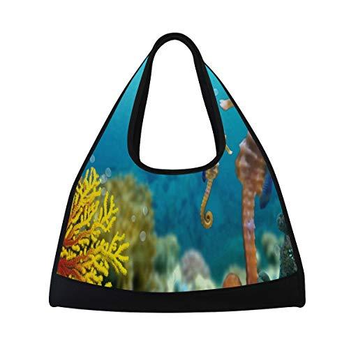 Gym Bag Coral Reef Seahorse Women Yoga Canvas Duffel Bag Crossbody Tennis Racket Tote Travel Bags