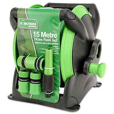 Generic 15M GARDEN HOSE PIPE /& COMPACT WALL REEL FITTINGS SET STANDING WALL MOUNTED