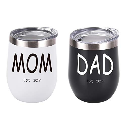 New Parents Gifts Wine Tumbler Set, Mom Dad Est 2019 Tumbler Gift Set for New Mom Baby Shower New Parents New Pregnancy Baby Announcement, 12 Oz Insulated Stainless Steel Wine Tumbler, Black and White (Best Wine Gifts 2019)
