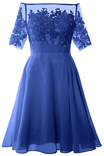 MACloth Women Off Shoulder Mother of Bride Dress with Sleeve Midi Cocktail Dress (EU42, Horizon)
