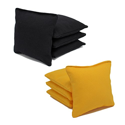 Make Bean Bag Toss Game - Free Donkey Sports ACA Regulation Cornhole Bags (Set of 8) (Black and Yellow) 25+ Colors to Choose from.