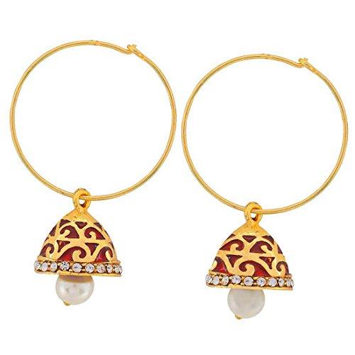 Maayra Filigree Earrings Red Bronze Dangler Drop Dailywear Jewellery