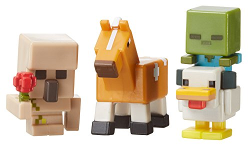 Minecraft Mini Figure 3-Pack, Iron Golem with Flower, Chicken Zombie & Palamino (Zombie Horse)