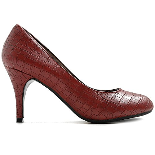 Faux Skin Crocodile Heel Women's Wine Stiletto Ollio High Pump Shoe Multi D'Orsay Color Oq6AwIE