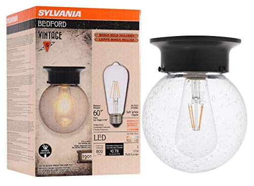 Seeded Glass - SYLVANIA 75514 Bedford Seeded Glass Globe, LED, Semi-Flush Mount, Dimmable Bulb Included Vintage Fixture, Antique Black