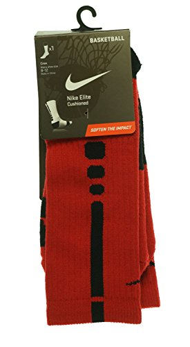Nike Men's Elite Cushioned Crew Socks Large (shoe size 8-12) (Red) (Shoes Basket Ball Nike compare prices)