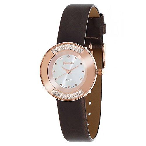 Guardo Women s Abbracci White Crystal Round Numberless Eco-Leather Watch WGW0004