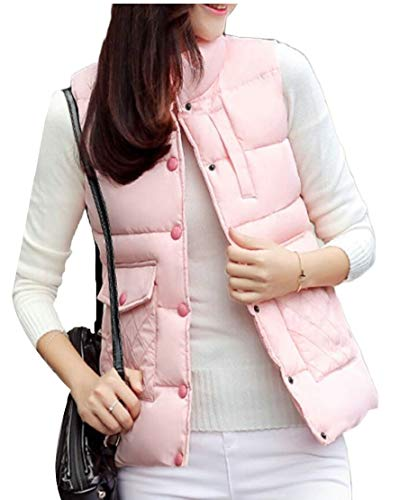 Collar Stand Women's EKU Zipper Vest Pink Down Pocket Casual Jacket T6A6xWgn