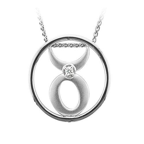 Zodiac Sign Taurus Silver Diamond Pendant Necklace (0.04 Carat) 0.04 Ct Diamond Fashion
