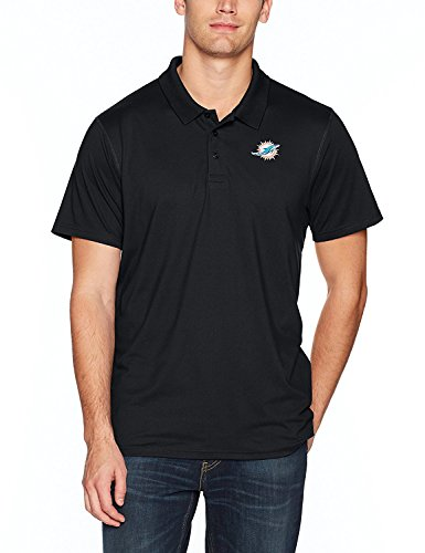 NFL Miami Dolphins Men's OTS Sueded Short Sleeve Polo Shirt, Jet Black, Medium - Miami Dolphins Golf Shirt