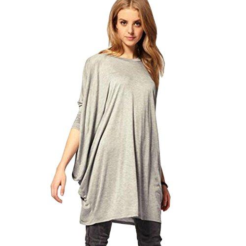 Shirt Pipistrello Casual Camicetta Lunghe Nero Tops Pullover T Grigio Felpa Allentato Donna Maniche Xsayjia Oversize Camicia Grey Maglietta xqpPqw0