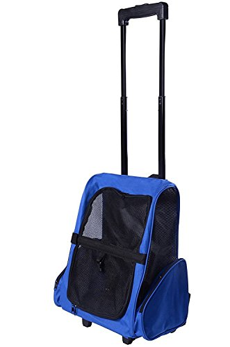 Sunnyhome007 5-in-1 Portable Durable Airline Approved Cat Travel Backpack, Dog Rolling Carrier, Tote Carrier, Car Seat Carrier, Pet Bed with Handle and Wheels for Small - Dog Carriers Rolling